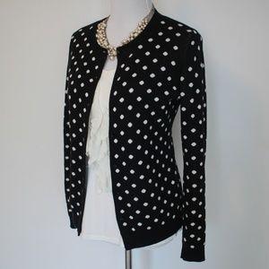 ANN TAYLOR Medium Black White Cardigan Sweater Dot